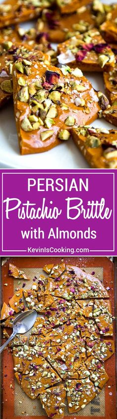Persian Almond and Pistachio Brittle - Sweet and salty brittle with delicate Persian flavors like rose water, saffron, almonds and pistachios. Candy Recipes, Snack Recipes, Dessert Recipes, Cooking Recipes, Snacks, Coctails Recipes, Sweet Recipes, Fun Desserts, Delicious Desserts
