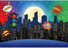 Superhero Backdrop, Superhero Background, Superhero City, Avengers Party Decorations, 1st Birthday Party Decorations, Cityscape Photography, Background For Photography, 1st Birthday Girls, 1st Birthday Parties