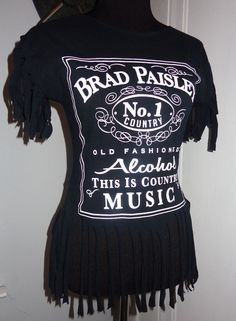 """Brad Paisley - handmade DIY fringed shirt. Perfect for country concert! """"Alcohol, this is country music!"""" Ladies top size Small. Only $28! Awesome print similar to Jack Daniels logo.   #bradpaisley #countrymusic #countryconcert #outfit #clothing #diy #shirts #summer #country #handmade #ladies #womens #lukebryan #floridageorgialine   Buy me on Etsy / Ebay"""