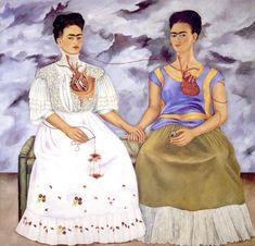 """""""As Duas Fridas"""", de FRIDA KAHLO A exposição do coração em ambas as figuras, que se interligam por uma artéria, também chama a atenção do observador. O coração da Frida tipicamente vestida aparece inteiro, ainda que fora do corpo. Já a outra está com o coração partido. As mãos dadas mostram que a Frida de coração inteiro é quem toma conta da outra."""