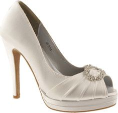 Walk down the aisle in confidence with these beautiful high-heeled, open-toe pumps