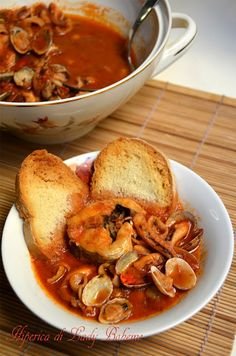 Italian food - Zuppa di pesce senza lische (Fish soup with clams, octopus, squid, cuttlefish and slices of hake)