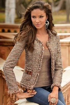 Feather tweed jacket - Boston Proper Casual Outfits, Blazer Outfits, Fashion Outfits, Womens Fashion, Boston Proper, Chanel Jacket, Cooler Look, Chanel Fashion, Fashion Over 50