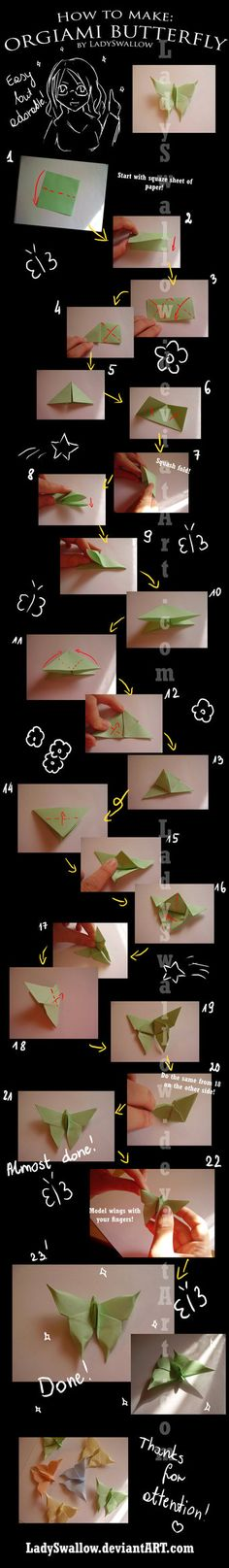 Origami butterfly - step by step tutorial! Now you can make a butterfly - easy but really beautiful! ^^ I hope that thi. Origami butterfly-step by step Diy Origami, Origami Butterfly Easy, Origami And Quilling, Origami And Kirigami, Paper Crafts Origami, Butterfly Crafts, Diy Paper, Oragami, Butterfly Mobile