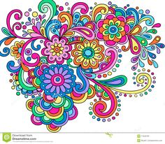 Colored Flower Doodles Doodle Henna Abstract Flowers