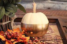 "5 Days of Pumpkins: Gold ""Dipped"" Colourblocked Painted Pumpkin"