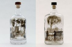 This Artist Uses Candle Smoke To Paint Breathtaking Scenes On The Inside Of Empty Bottles.He then uses skewers and needles to scrape away the soot and etch these picture-perfect landscapes.