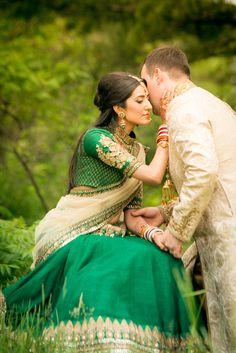 Indian bride in green Sabyasachi lehnga and her groom in a cream colored sherwani | Kumari Photo | Rubies and RIbbon http://kumariphotoanddesign.com/