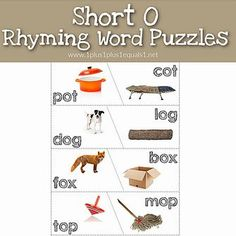 Short O Rhyming Word Puzzles and more! #1plus1plus1 #ryhming #kindergarten #PreK Free Worksheets For Kids, Free Printable Worksheets, Rhyming Activities, Activities For Kids, Rhyming Words, Word Puzzles, Preschool At Home, Kindergarten Teachers, Early Childhood Education