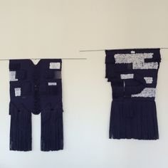 """Wall hanging no:1 & 2 """"unfinished stories"""" by FAULT LINES."""