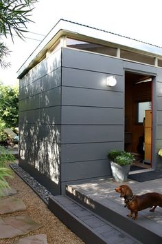 Who lives here: Kristen James and Mike Dunn and their dogs Gaudi and ConanLocation: Lakewood, CASize: 3 bedrooms 2 bathroom house Square Feet)Years lived in: 6 years — own Backyard Office, Backyard Studio, Garden Studio, Garden Office, Studio Hangar, Shed Design, House Design, Studio Shed, Modern Shed