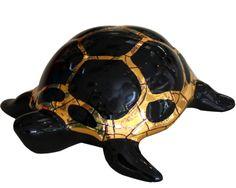 Black/gold turtle pm Emaux de Longwy