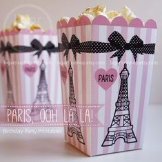 Popcorn boxes Paris Ooh la la! Eiffel Tower Pink and Black birthday party printables box favor baby shower water bottle labels supplies