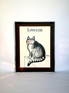 "Vintage 1977 ""Love A Cat"" Print by Bernard Kliban *yay!*"