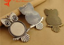 Fit 25MM 20MM Antique Bronze The owl bezel charm pendant blank bottom support, DIY bulk accessories round metal stamping base(China (Mainland))