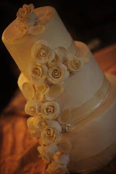 Ivory wedding cake  www.facebook.com/kccakes