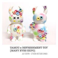いよいよ明日から UAMOU x REFRESHMENT TOY [MANY EYES EXPO] 7.25.(金) - 27.(日) STUDIO UAMOU様にて☆土・日は在廊します #customtoy #シリアル #uamou #refreshmenttoy #sofubi #customtoy