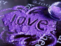 love in purple glitter