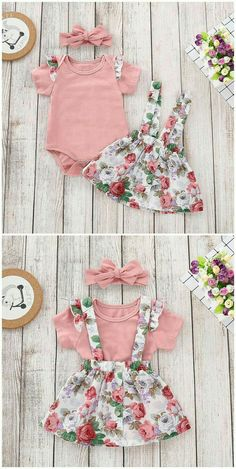 Ruffle Short Sleeves Bodysuit, Floral Overall Skirt, Headband in Pink infant outfit,infant s Baby Outfits, Little Girl Outfits, Kids Outfits, Fall Toddler Outfits, Baby Kind, Cute Baby Girl, Baby Girl Fashion, Kids Fashion, Baby Hair Bands