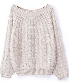 Beige Long Sleeve Loose Cable Knit Sweater - Sheinside.com