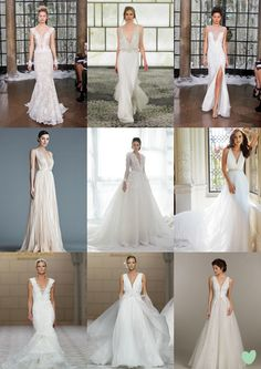 Plunging Neckline #Wedding #Dresses Mood Board from The Wedding Community