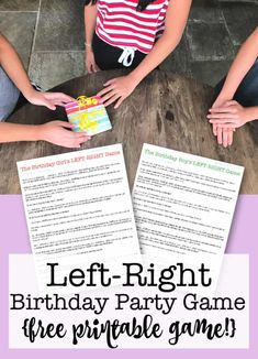 Left Right Birthday Party Game {free printable! Easy Kids Party Games, Kids Party Games Indoor, Birthday Party Games For Kids, Holiday Party Games, Birthday Activities, Birthday Themes For Boys, Kids Party Themes, Party Ideas, Party Activities