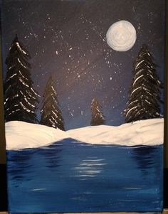 easy acrylic painting ideas - moonlit lake