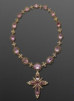 Georgian Foil-backed Pink Topaz and Pearl Riviere with Cross Pendant, circa 1820
