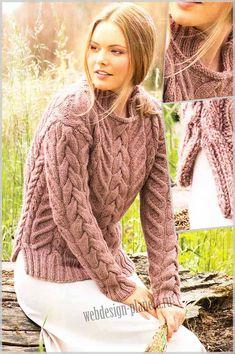 Женский пуловер связан спицами выразительными узорами из кос, с искусно выполненными шлицами по бокам и прекрасно обработанной горловиной с воротничком....Размер: 38-40 (Европа) или 44-46 (Россия)..Для вязания женского пуловера спицами нам требуе...