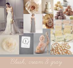 Blush, cream, and gray wedding color idea...