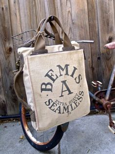 Items similar to Bemis A Seamless - Chicago Illinois - Americana Vintage  Seed Feed Sack Book Tote- OOAK Canvas   Leather Tote... Selina Vaugha on  Etsy 157ec1f677