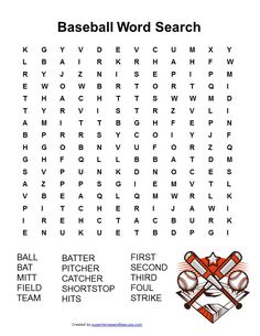 Baseball Word Search Free Printable