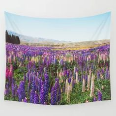 Colorful Flower Meadow New Zealand Wall Tapestry