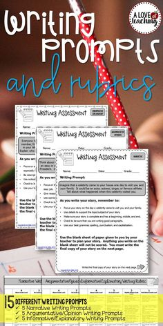 Get your students ready for state testing with these 15 different ‪writing prompts - 5 Narrative, 5 Argumentative/Opinion, and 5 Informative/Explanatory. Perfect for grades 3-6! Scoring rubrics for each writing genre are included to make grading and giving feedback easy!  Included in download: 15 Different Writing Prompts -- 5 Narrative Writing Prompts -- 5 Argumentative/Opinion Writing Prompts -- 5 Informative/Explanatory Writing Prompts  Scoring rubrics for each writing genre are included.