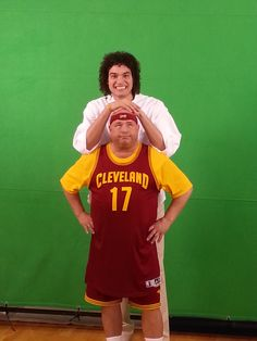Mr. Hero's Corporate Chef, Jim Cox, messes around with Cleveland Cavs center, Anderson Varejao, on the set of a Mr. Hero TV commercial.
