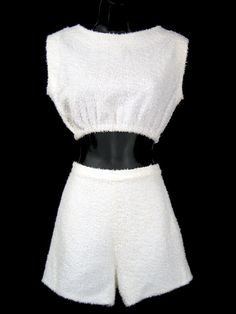 9623b05007 Vintage 1950 s BEACH SET Terry Cloth Playsuit Romper Swimsuit Midriff  Shorts 60s