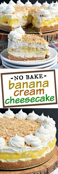 No oven needed with this beautiful, layered NO BAKE Banana Cream Cheesecake! Youll love the cookie crust with the creamy cheesecake, fresh bananas, banana pudding and whipped topping! christmas make,no bake desserts 13 Desserts, Delicious Desserts, Yummy Food, Baking Desserts, Trifle Desserts, Pudding Desserts, Holiday Desserts, Plated Desserts, Healthy Desserts