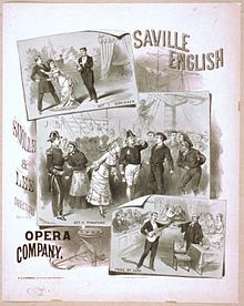 Early poster showing scenes from The Sorcereress of Sullivian, H.M.S. Pinafore and Trial by Jury