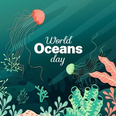 Graphic Design Templates, Modern Graphic Design, Ocean Day, Watercolor Whale, Cute Whales, Underwater Creatures, Oceans Of The World, Flat Design, Cute Art