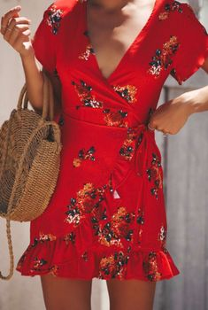 Fashion Red V-Neck Short Sleeve Tied Waist Ruffle Hem Mini Sheath Dress, Fashion Style Dresses Cute Dresses, Short Sleeve Dresses, Summer Dresses, Mini Dresses, Short Sleeves, Outfit Summer, Boho Fashion, Fashion Outfits, Red Outfits
