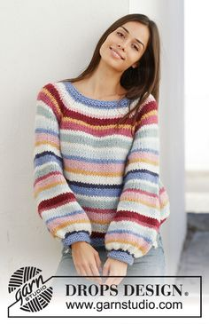 Crochet Sweaters Ravelry: Happy Stripes pattern by DROPS design - Sweater Knitting Patterns, Cardigan Pattern, Knit Patterns, Free Knitting, Baby Knitting, Drops Design, Crochet Woman, Knit Crochet, Crochet Sweaters