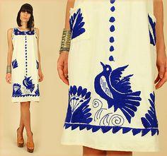 VtG 60s 70s BLUE BIRDS Floral Mexican Embroidered CROCHET Dress HiPPiE BoHo M/L
