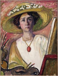 Gabriele Münter.  1877 - 1962.  German Expressionist/Der Blaue Reiter Movement.  Self-Portrait, 1908–09.