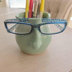 Pencil Holder Eyeglass Holder Ceramic Pottery by SharsArtPottery Pencil Cup, Eyeglass Holder, Pottery Wheel, Pencil Holder, Stoneware Clay, Green Eyes, Ceramic Pottery, Mint Green, Eyeglasses