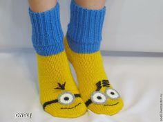 """Купить Носки """"Миньоны"""" 2 - желтый, носки вязаные, носки ручной работы, Носки шерстяные Addi Express, Crochet Socks, Baby Knitting Patterns, Lana, Gloves, Slippers, Boots, Inspiration, Collection"""