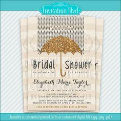 Glitter Umbrella Customizable Bridal Shower Invitation by InvitationBlvd on Etsy, $10.99
