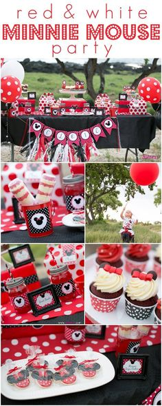 Adorable ideas for a Minnie Mouse birthday party ♥ including red velvet cupcakes