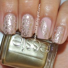 OPI My Very First Knockwurst stamped using Konad M57 in Essie Good as Gold.