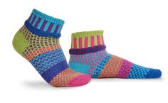 'Lily' Ankle Socks - cotton multipatterned and colorful mismatched socks. Represented at Human Arts Gallery in Ojai, CA. Solmate Socks, Ankle Socks, Large Womens Shoes, Recycled Yarn, Crazy Socks, Purple Shorts, Swag Style, Cotton Socks, Arm Warmers