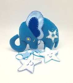 Nursery mobile decoration Blue elephant with stars baby mobile handmade in felt kidsroom decor wall art for kids and babies. (45.00 USD) by annatrimmeldesigns
